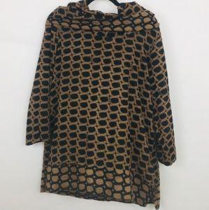 Gretchen Scott Black Link Print Cowl Neck Tunic